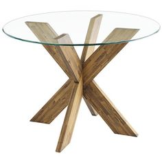 """A small table base with a big personality. This solid hardwood base is compact, yet capable of accommodating a glass top up to 48"""" in diameter. Its unique design is bold, sophisticated and—combine two to perfectly support a 78"""" tabletop."""