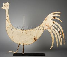 Antique Weathervane, Rooster, Sheet Iron, entire view