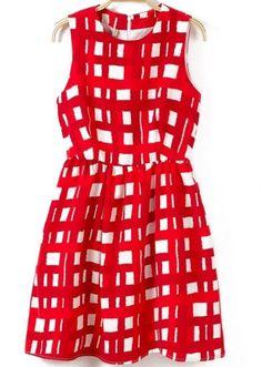 Red and White Sleeveless Plaid Print Short Dress