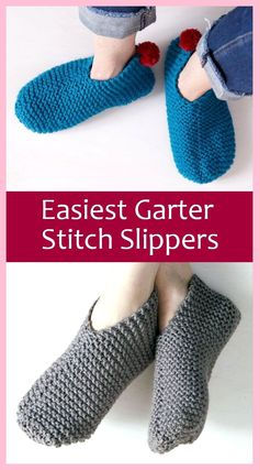 Free Knitting Pattern for Easiest Garter Stitch Slippers - Easy-to-knit weekend . Free Knitting Pattern for Easiest Garter Stitch Slippers - Easy-to-knit weekend project requires knitting just one recta. Beginner Knitting Patterns, Easy Knitting Projects, Free Knitting, Knitting Socks, Start Knitting, Diy Knitting For Beginners, Crochet Socks, Knit Slippers Free Pattern, Knitted Slippers