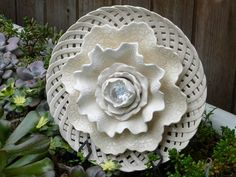 Plate Flower # 486  Drought Resistant.       Garden Yard Art glass and ceramic plate flower