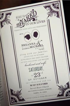 Wedding Invitation Inspiration - Antique Book Design - Brianna and Michael