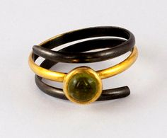 Coil wrap ring, Triple band ring green tourmaline, Tourmaline solitaire ring