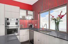 Brio Clear Red glass mosaic tile backsplash by Modwalls Tile Company. www.modwalls.com