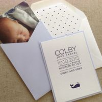The Windmill presents baby announcement designs from Page Stationery. Featuring letterpress, eco-friendly papers, envelope liners, and pockets.