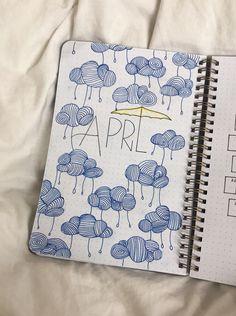 Bullet Journal inspiration for April #bujo #april #bulletjournal #showers #inspo #clouds #rain #umbrella