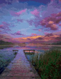 Waterfront Dock at Sunset Cross Stitch pattern PDF - Instant Download! by PenumbraCharts on…