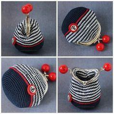 Purse вязаный-кошелек-с-фермуаром-вязаный-кошелек-на-застежке-с-шариками-кошелек-вязаный-крючком-кошелек-в-морском-стиле. Crochet Wallet, Crochet Coin Purse, Free Crochet Bag, Crochet Diy, Love Crochet, Crochet Crafts, Crochet Bags, Diy Bags Purses, Diy Purse