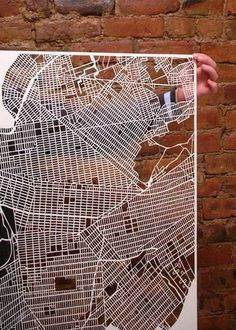 City Map Paper cuts by Karen O'Leary New York City Map, City Maps, Laser Cut Paper, Paris Map, 3d Laser, Paper Artwork, The Design Files, 3d Prints, Art Graphique