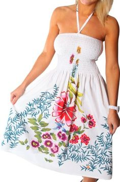 One-size-fits-all Tube Dress/Coverup - Zinnia Ivy WhiteA beautiful tube dress with a highly durable elastic tube top to fit sizes 3-15. Wear it as a summer dress or a swimsuit coverup. The neck strap is removable. Be the envy of all your friends with these beautiful prints.