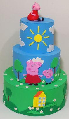 BOLO FAKE PEPPA PIG E PIRULITEIRA E.V.A Bolo Fake Peppa, Bolo Da Peppa Pig, Peppa Pig Birthday Cake, Happy Birthday Baby, Bolo Jake, Baby Shower Fruit, Fake Cake, Pig Party, Cake Pictures