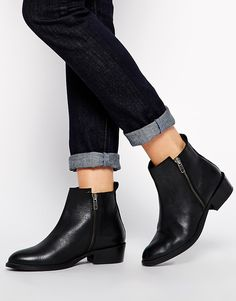Image 1 of Dune Pippie Black Pointed Flat Ankle Boots