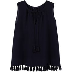 Fringed Detail Blouse found on Polyvore featuring tops, blouses, shirts, tank tops, blue v neck shirt, v neck sleeveless shirt, fringe blouse, blue blouse and blue shirt