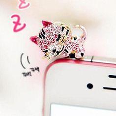 søvnig kat 3,5 mm anti-støv stik til iPhone 5 / Samsung (assorteret farve) - DKK kr. 23