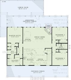 Country Style House Plan - 5 Beds 3 Baths 2704 Sq/Ft Plan #17-2512 Floor Plan - Main Floor Plan - Houseplans.com