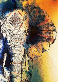 Zeichnung, Elefant, Bunt, Farbig, Gemalt, Malerei
