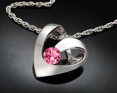 Heart Pendant  Valentine's Day  Pink Topaz by VerbenaPlaceJewelry, $90.00