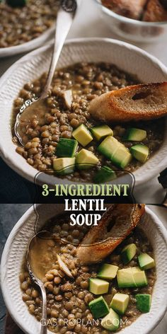 This Vegan Lentil Soup is THE easiest way to make a hearty, flavorful, and nutritious soup. Instant Pot compatible, this recipe is massively useful to have on hand. Vegan Lentil Soup, Vegan Soups, Lentil Recipes, Soup Recipes, Whole Food Recipes, Sweet Recipes, Recipies, Dinner Recipes, Best Vegan Recipes