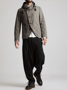 Cotton with a Wool aspect Hooded Blazer by SYNGMAN CUCALA