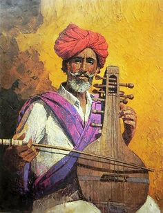 Portrait Drawing A Rajasthani Musician (Reprint on Paper - Unframed) - A Rajasthani Musician (Reprint on Paper - Unframed) Rajasthani Painting, Rajasthani Art, Indian Artwork, Indian Art Paintings, Poster Color Painting, Texture Painting, Dance Paintings, Oil Paintings, Music Painting