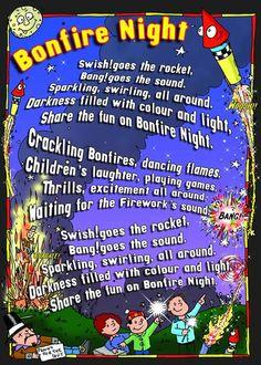 Bonfire Night preschool activity card & rhymes