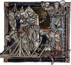 A siege scene from an early 14th-century manuscript, showing a trebuchet about to be shot.: