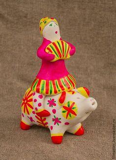 Всадник на свинье в интернет-магазине на Ярмарке Мастеров. Филимоновская игрушка-свистулька