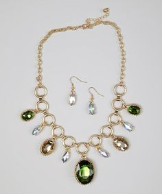 Take a look at this Topaz & Gold Necklace & Drop Earrings by Accessories West Imports on #zulily today!