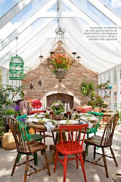 A dining room in the middle of the garden.