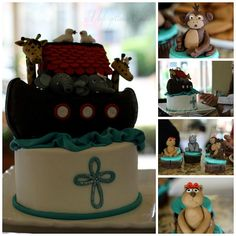 Noah's Ark cake and animal cupcakes.  http://on.fb.me/12WCqnF  The Ark is made of RCT and all fondant animals are made of fondant.
