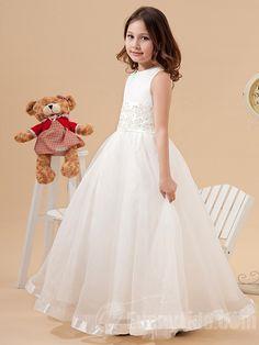 【Everytide Flower Girl Dress】Appliques Waist Dresses For Wedding Flower Girls