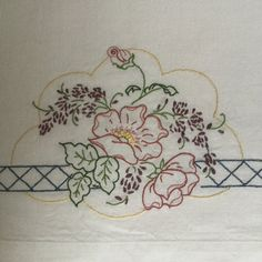 Embroidered Wild Roses Pillowcase Set by StitchinTimeStudio