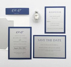 Silver and Royal Blue Wedding Invitation & Save the Date