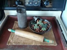 Prim St. Patrick's Day stove board ...grater....salt doughs...rolling pin...scoop **Jenn Choate**