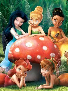 Disney Fairies Fawn, Silvermist, Iridessa, Rosetta and Tinkerbell ...
