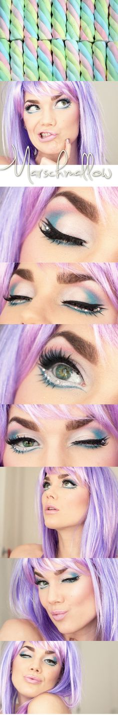 Crystals accent pretty pastel make-up inspired by marshmallows by Linda Hallberg,