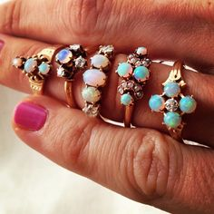 Erica Weiner opal rings. They're so pretty but I wouldn't wear them all at the same time!