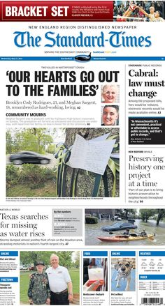 The Standard-Times. May 27, 2015.  Fairhaven mourns loss of two young people; lawmakers seek change to state's public record law; WHALE gives an update of its projects before Thursday's annual meeting and more.