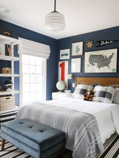 boy bedroom decor in red, white, and blue, adventure boy bedroom design, teen boy bedroom decor, tween boy room decor with plaid bedding and map art