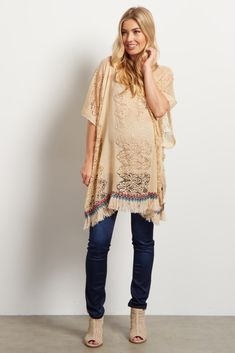 Cream Lace Ribbed Multi-Colored Accent Fringe Top