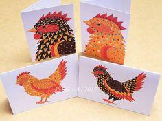 Hens folded gift tags pack of 4 peel-off tags by Ellareki on Etsy
