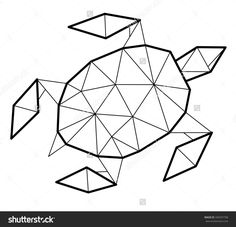 geometric turtle - Google Search Tape Art, Geometric Drawing, Geometric Shapes, Animal Drawings, Art Drawings, Origami Turtle, Stylo 3d, Polygon Art, Barn Quilts