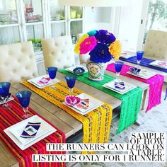 Cinco De Mayo Discover Mexican fabric table runner napkins or tablecloth. Mexican Birthday Parties, Mexican Fiesta Party, Mexican Dinner Party, Pink Tablecloth, Tablecloths, Mexican Fabric, Mexican Christmas, Fiesta Decorations, Decoration Table