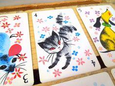Vintage Playing Card Ephemera Supply Fuzzy Cat Kitten Kitty Graphics
