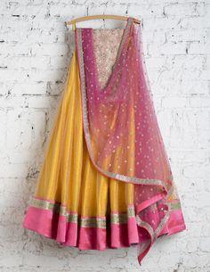 SwatiManish Lehengas SMF LEH 178 17 Pineapple yellow with shocking pink dupatta