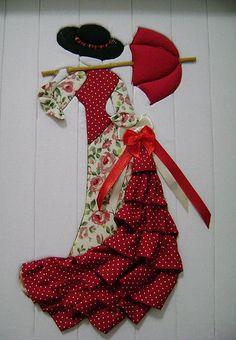 .mujer española en patchwork sin agujas