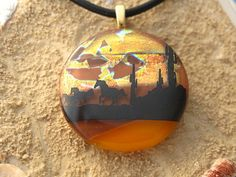 Dichroic Fused Glass Jewelry  Horse Pendant  Sunset by ccvalenzo, #CGGE
