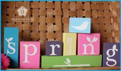 Inexpensive, painted wooden blocks with Uppercase Living vinyl = awesome craft project!! Purchase vinyl lettering and graphics from www.vinyldecor.ca