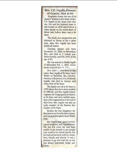 Obituary of Caroline Quiner Ingalls.