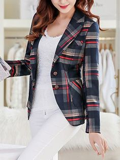 Blazer Casual a Cuadros Colores Mujer Office Outfits, Casual Outfits, Look Fashion, Girl Fashion, How To Wear White Jeans, Simple Work Outfits, Blazer Jackets For Women, Plaid Jacket, Trendy Dresses